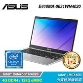 【ASUS 華碩】E410MA-0631WN4020 14吋筆電 - 夢幻白
