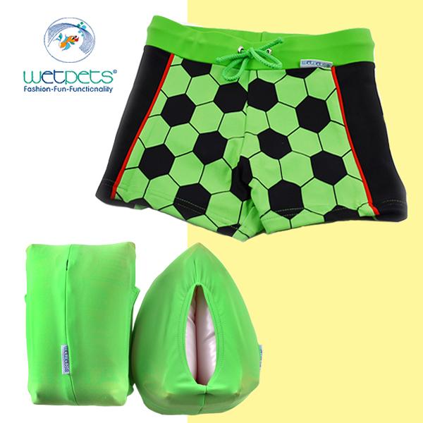 德國兒童泳裝組合/男童泳裝/泳褲/附臂圈/嬰幼兒-Kicker足球綠(98-110) WETPETS Q-C-15-BH-TE-5