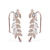 耳環 玫瑰金 925純銀鑲鑽-氣質樹葉生日情人節禮物女飾品2色73gs259【時尚巴黎】