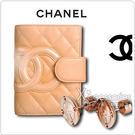 CHANEL展示品 經典康朋米米羊皮記事本+ MK 玫瑰金字耳環