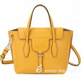 TOD'S Joy Bag T釦牛皮手提肩背包(黃色) 1920046-66