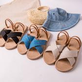 MIUSTAR 交叉草編皮革環帶兩穿式拖涼鞋(共3色,36-40)【NH0835ZP】預購