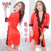 和服睡衣 愛在今宵!長袖透明蕾絲和服式睡衣﹝紅﹞ 日式睡衣 角色扮演服 女衣