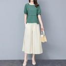 棉麻套裝女2021年夏季新款文藝復古洋氣寬管褲亞麻職業時尚兩件套 果果輕時尚