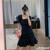 魚尾洋裝 藍色妖姬玫瑰裙約會小裙子方口氣質女人味法式初戀魚尾連身裙女夏 愛麗絲