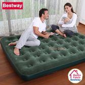 Bestway (寬137cm)軍綠色蜂窩立柱植絨雙人充氣床/居家加厚睡墊/休閒充氣床/露營床墊/野營睡墊(67448)
