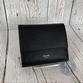 BRAND楓月 CELINE 黑色 皮革 三折 短夾 錢包 皮夾