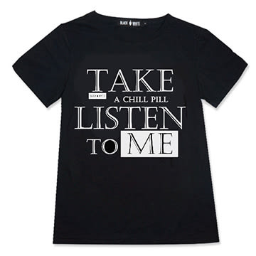 Black & White Voice T-shirt-聽我說(Black)