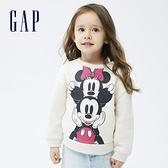 Gap女幼童 Gap x Disney 迪士尼系列印花刷毛休閒上衣 731718-米色