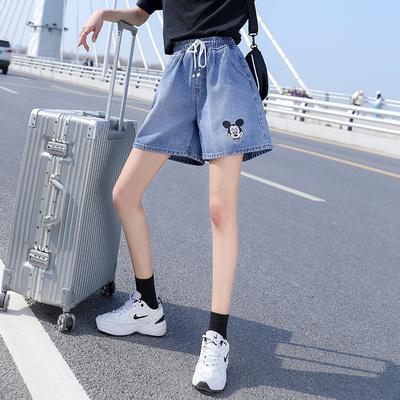 大碼短褲松緊腰褲子S-5XL牛仔短褲高腰百搭顯瘦可愛米奇刺繡松緊腰6895-1F039 依品國際