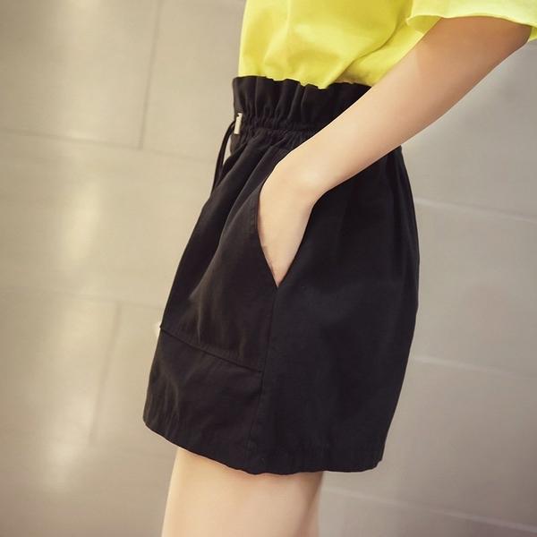 FINDSENSE G5 韓國時尚 夏季 百搭 木耳邊 高腰 寬鬆 闊腿褲 短褲