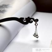手工黑檀木發簪盤發復古典發飾頭飾簪子925純銀鈴蘭步搖配盒 母親節禮物