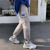 ins超火的褲子寬鬆ulzzang工裝褲男潮牌2020bf風束腿褲原宿哈倫褲 藍嵐