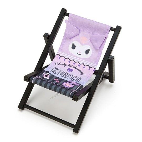 小禮堂 酷洛米 海灘椅造型手機架 塑膠置物架 玩偶椅 (紫黑 熱帶沙灘) 4550337-58913