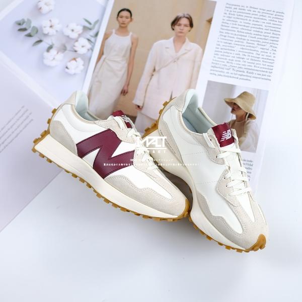 IMPACT New Balance 327 酒紅 皮革款 焦糖底 日系 復古 慢跑鞋 休閒 WS327KA