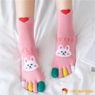 五指襪女中筒棉襪小熊兔子保暖分腳趾襪【小獅子】
