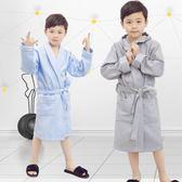 一件85折免運--兒童浴袍女孩棉質男孩吸水可愛帶帽中大童游泳睡袍