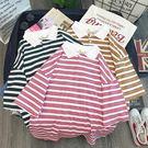 女POLO衫 POLO衫女短袖夏新款韓版學生網紅條紋翻領T恤ins潮百搭寬鬆上衣服