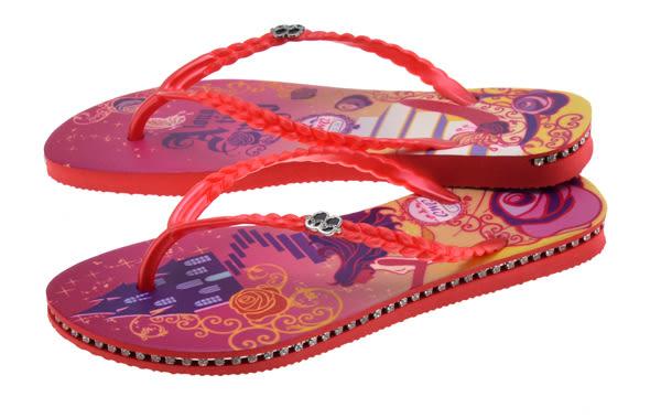 QWQ創意鞋-  玻璃鞋之約 施華洛世奇水鑽夾腳人字拖鞋- 紅 (范特西系列 )