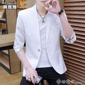 西裝外套 男士七分袖西服韓版修身小西裝夏天薄款中袖潮流帥氣半袖西服外套 西城故事