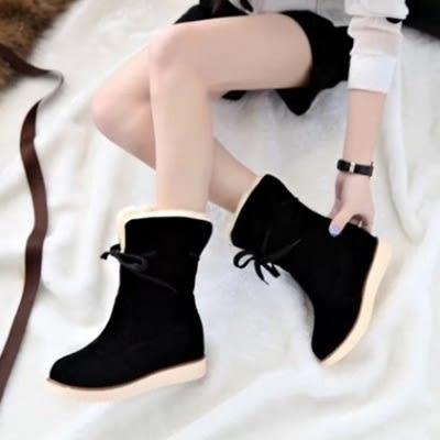 低筒雪靴-時尚甜美簡約蝴蝶結女厚底靴子3色73kg11[巴黎精品]