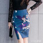 中大尺碼開叉裙職業短裙包裙一步裙花色裙工裝裙女 nm5519【VIKI菈菈】