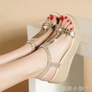 網紅坡跟涼鞋女2020夏季新款百搭仙女風厚底高跟鞋甜美水鑚羅馬鞋 蘿莉新品