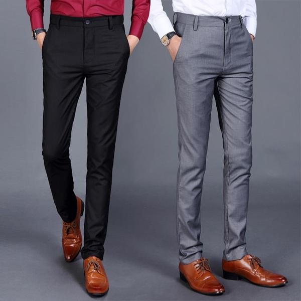 西裝褲厚款夏季黑色小腳直筒西裝褲男褲子男士西褲修身型商務休閒褲男褲