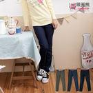 牛仔褲--百搭實品褲管車線條紋配布鬆緊褲頭水洗直筒牛仔長褲(黑.藍.綠M-4L)-N60眼圈熊中大尺碼