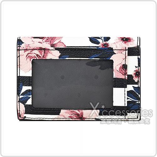 Kate Spade經典黑桃金字LOGO玫瑰花設計PVC 3卡扣式鑰匙零錢包(黑x白)