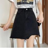 夏季韓版復古牛仔裙學生百搭顯腿長包臀A字裙高腰顯瘦半身短裙女