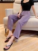 休閒褲 雪紡闊腿褲女高腰垂感顯瘦小個子九分紫色薄款直筒寬鬆拖地休閒褲 韓國時尚週