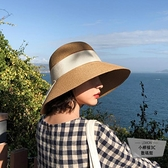 草帽女可折疊沙灘帽度假遮陽帽蝴蝶結漁夫帽草帽盆帽【小檸檬3C】