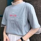 (全館一件免運)DE SHOP~(T-8577)韓版bf寬鬆網紗拼接短袖T恤女百搭原宿風中袖學生上衣