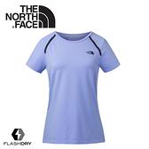 【The North Face 女 FlashDry排汗短袖T恤《紫》】3CHY/短袖上衣/運動短袖/T恤