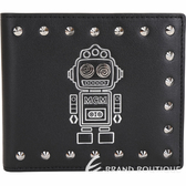 MCM Roboter 機器人鉚釘裝飾牛皮對折短夾(黑色) 1920251-01