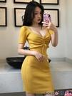 熱賣短袖洋裝 春季復古性感V領顯胸大系帶修身包臀A字裙針織短袖連身裙【618 狂歡】