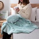 【夏季SALE任3件3折】和煦舒絨蓋毯靠枕2件組-綠/紫-生活工場