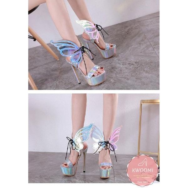 高跟涼鞋 訂製款立體蝴蝶翅膀飄逸細跟 高跟鞋 晚宴鞋 新娘鞋*KWOOMI-A51