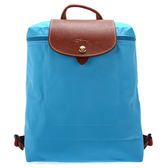 LONGCHAMP經典尼龍摺疊後背包(蔚藍色)480175-807