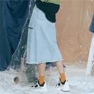 淺藍割破造型牛仔長裙【1919800408】