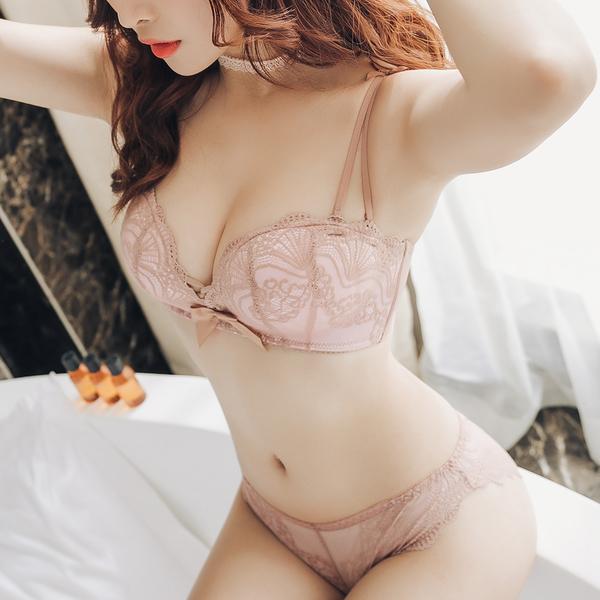 無鋼圈 平口內衣 成套內衣褲 法式半罩杯 優雅蕾絲【沁甜美姬】貝殼蕾絲(粉)