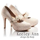 ★2017春夏★Keeley Ann蕾絲浪漫~幸福花朵朵開小鑽可拆式腳背帶新娘高跟鞋(粉紅色)