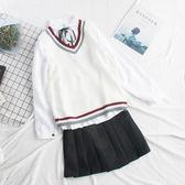 毛衣背心 韓版寬鬆學院風針織馬甲女背心外穿毛衣學生毛線馬夾2019新款秋季 果寶時尚