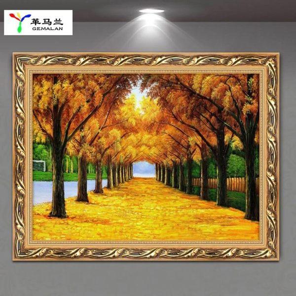 黃金大道歐式客廳裝飾畫餐廳掛畫飯店玄關走廊墻面壁畫風景畫油畫 萬聖節