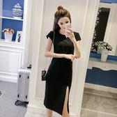 【新年鉅惠】大碼女裝顯瘦開叉禮服連身裙