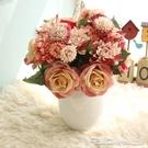 仿真話大麗花束玫瑰花球手捧花家居客廳裝飾品組合花朵擺件道具 阿卡娜