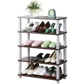 Homelike 簡約五層開放式鞋架-胡桃色