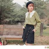 《AB14461-》甜美刺繡花瓣領長袖開襟襯衫/上衣 OB嚴選