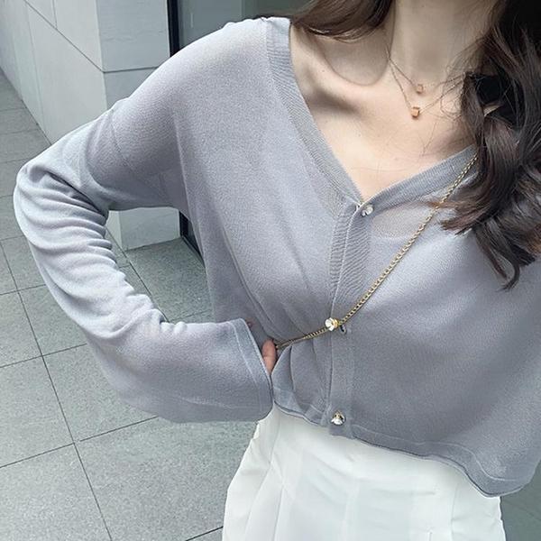 防曬衣 冰絲針織防曬開衫外套女短款白色寬鬆小披肩慵懶長袖薄款空調衫夏 英賽爾